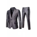 Mens Popular Gray Double Breasted Fitted Wedding Blazer & Pants Two Pieces Set