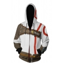 Classic Character Comic Anime Cosplay White and Brown Long Sleeve Zip Placket Hoodie