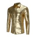 Mens Dicos Fashion Plain Metallic Long Sleeve Single Breasted Fitted Tuxedo Shirt