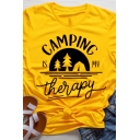 Girls Simple Letter CAMPING IS MY THERAPY Tree Print Short Sleeve Crew Neck T-Shirt
