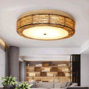 Handwoven Rattan Flush Ceiling Light with Round Shade 3 Bulbs 12.5/16.5 Inch Asian Flush Mount Lighting
