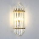 Crystal Pipe Flush Wall Sconce Mid Century 1 Light Wall Light Sconce in Clear for Living Room