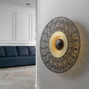 Colonial Round Flush Mount Wall Light LED Metal Wall Sconce Lighting in Brass for Porch
