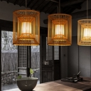 1 Light Weave Pendant Light with Cylinder Wood Shade Chinese Teahouse Ceiling Hanging Light with Inner Parchment Shade
