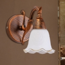 Frosted Glass Petal Wall Sconce Light Vintage Style 1/2/3/4-Light Bathroom Wall Lamp in Copper/White
