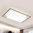 Contemporary Rectangle Flush Mounted Light Acrylic Living Room LED Ceiling Light Fixture in White with K9 Crystal Accent