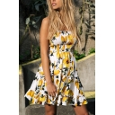 Ladies' Pretty Sleeveless Strapless Floral Printed Ruffled Trim Pleated Short A-Line Tube Dress in Yellow
