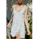 Pretty White Sleeveless Bow-Tied Strap Floral Patterned Slit Side Short A-Line Cami Dress for Cute Girls