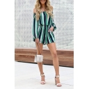 Fashion Ladies Long Sleeve Off The Shoulder Stripe Patterned Short Jumpsuit in Green