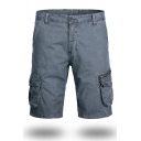 Mens Casual Plain Gray Zipper Placket Multi Pockets Cargo Shorts