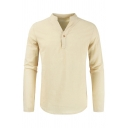 Mens Casual Plain Apricot Long Sleeve Single Button V-neck Linen Henley Shirt