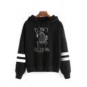 Lovely Cartoon Cactus Letter DON'T TOUCH ME Print Striped Long Sleeve Drawstring Hoodie