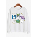 BOOGZEL Lovely Cartoon Planet Game Console Printed Long Sleeve Pullover Sweatshirt