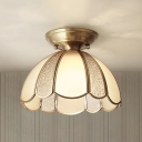 Brass 1 Light Flush Mount Fixture Colonialism Curved Frosted Glass Scalloped Ceiling Mounted Light for Dining Room, 10