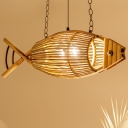 Bamboo Fish Ceiling Pendant Light Country Style Single Light Suspension Lamp with 23.5
