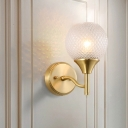 Spherical Sconce Light Minimal Prismatic Glass Single Light Brass Finish Wall Mount Lamp