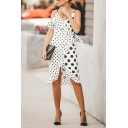 Fashion Girls' Sleeveless Surplice Neck Polka Dot Patched Ruffled Trim Bow Tied Waist Slit Front Midi Sheath Wrap Cami Dress in White