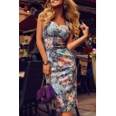 Trendy Elegant Ladies' Sleeveless Sweetheart Neck Hollow Back Floral Patterned Slit Back Midi Bodycon Cami Dress
