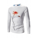 Mens Chic Floral Pattern Long Sleeve Round Neck Slim Fit Pullover Sweatshirt