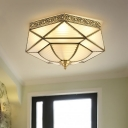 4-Light Opal Glass Flush Light Colonialist Brass Faceted Bedroom Close to Ceiling Lighting