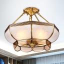 Bowl Milky Glass Ceiling Lighting Colonial 3/4 Bulbs Living Room Semi Flush Mount Light in Brass, 14