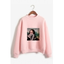 Spoof Famous Oil Painting Mock Neck Long Sleeves Fancy Pullover Sweatshirt