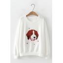 Simple Cartoon Dog Floral Print Long Sleeve Crew Neck Loose Pullover Sweatshirt