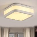Cuboid Acrylic Flush Ceiling Light Simple Style LED Black/White Ceiling Lamp in Warm/White /3 Color Light