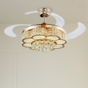 Flower Ceiling Fan Light Modernism Metal LED Gold Semi-Flush Mount with Crystal Ball Accent