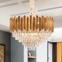Tapered Chandelier Light Postmodern Crystal Block 6/10 Heads Brass Hanging Lamp Kit, 16