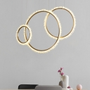 Ring K9 Crystal Hanging Light Fixture Contemporary Gold 16