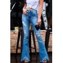 Fashion Ladies' Light Blue Mid Rise Distressed Bleach Frayed Cuffs Asymmetric Slim Fit Flared Jeans
