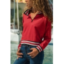 Ladies Classic Striped Trim Stand Collar Long Sleeve Half Zip Short Fitted Casual Sweatshirt