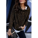 Brown Leopard Printed Funnel Neck Long Sleeve Designer Drawstring Hoodie for Women