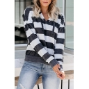 Womens Casual Gray and White Stripe Printed Long Sleeve V-Neck Fitted Sports Hoodie
