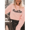 Womens Pink FRENCH FRIES Letter Printed Long Sleeve Pullover Crop Sweatshirt
