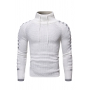 Winter Casual Ribbed Knit  Striped Long Sleeve Drawstring High Neck Slim Fit Pleated Pullover Sweater