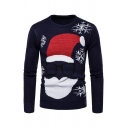Winter Fancy Glasses Santa Claus Snowflake Printed Long Sleeve Casual Pullover Holiday Sweater