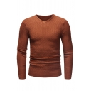 Mens Casual V-neck Long Sleeve Slim Fit Solid Color Outdoor Pullover Thin Knitted Sweater