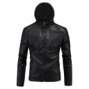 Mens Simple Plain Long Sleeve Zip Up PU Leather Hooded Jacket in Black