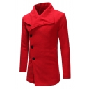 Mens Simple Solid Color Wide Lapel Long Sleeve Side Button Longline Fitted Wool Coat