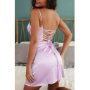 Womens Plain Chic Corset Lace Up Open Back Sexy Mini Bustier Slip Dress for Club