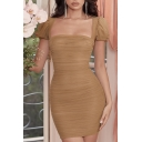 Ladies Summer Trendy Plain Brown Lantern Short Sleeve Square Neck Shirred Mesh Mini Bodycon Dress