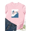 Womens Simple Cartoon Character Printed Rolled Short Sleeve Loose T-Shirt Top