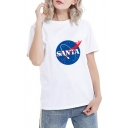 Popular Galaxy Letter SANTA Printed Short Sleeve Round Neck T-Shirt for Couple
