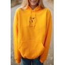 Popular Yellow Letter RAISED WILD Flower Printed Long Sleeve Pouch Pocket Oversized Hoodie