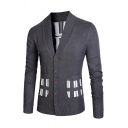 Geometric Print Patched Pocket Long Sleeve V-Neck Button Down Slim Fit Casual Cardigan Knit Coat50