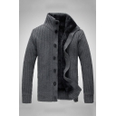New Arrival Plain Dark Grey Long Sleeve High Collar Button Down Casual Fitted Cardigan Winter Coat