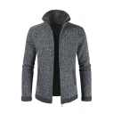 Mens Fashionable Gray Long Sleeve Lapel Collar Zip Placket Fitted Cardigan Knit Coat