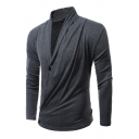 Mens Plain Gray Designer Inclined Button Long Sleeve Fitted Surplice Cardigan Coat